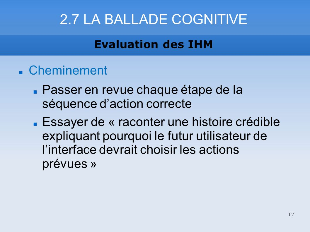2.7 LA BALLADE COGNITIVE Cheminement