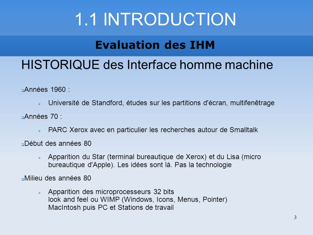 1.1 INTRODUCTION HISTORIQUE des Interface homme machine