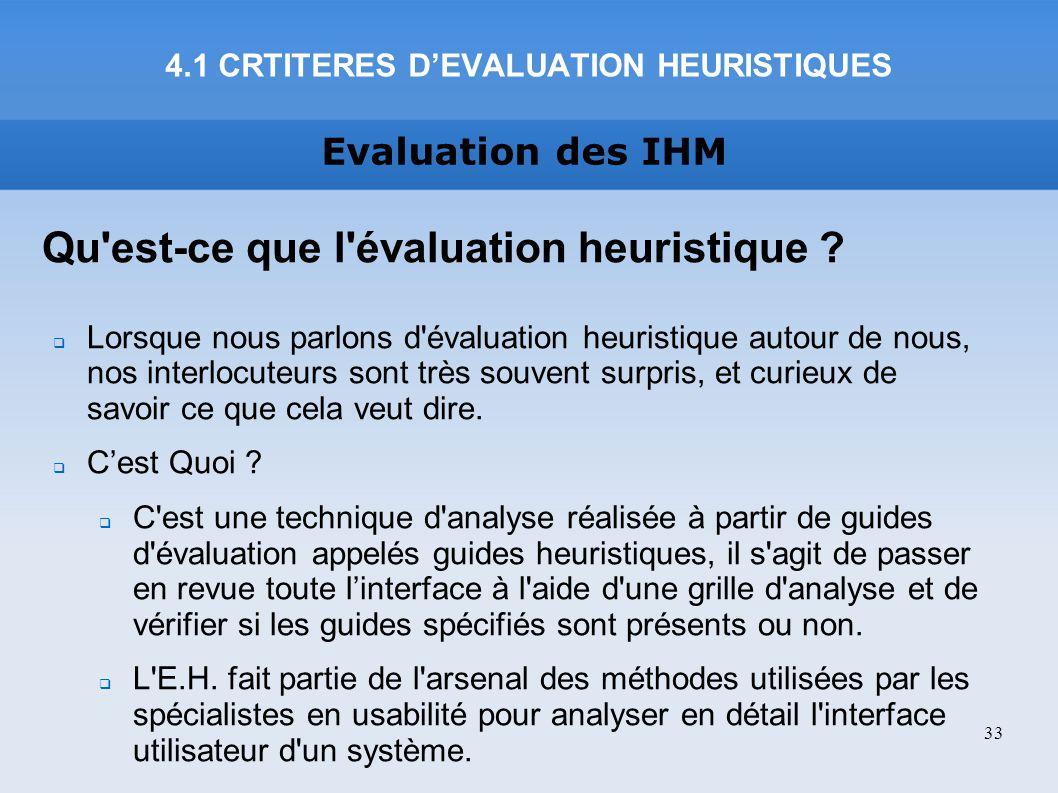 4.1 CRTITERES D'EVALUATION HEURISTIQUES
