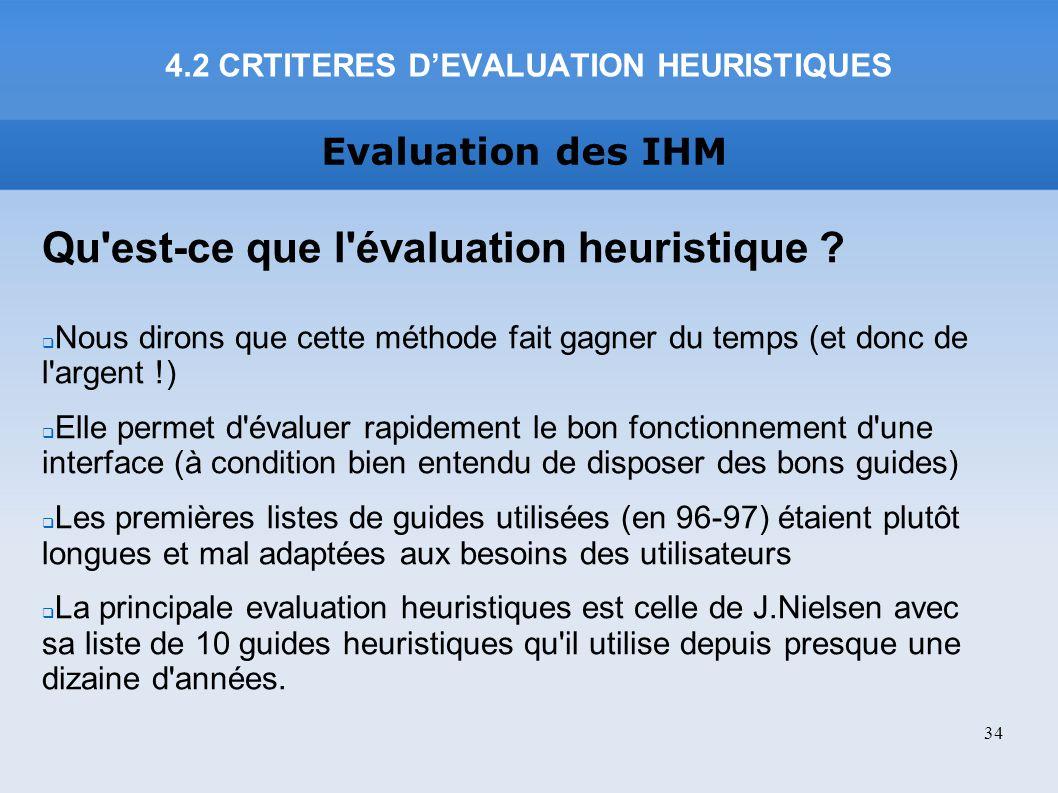 4.2 CRTITERES D'EVALUATION HEURISTIQUES