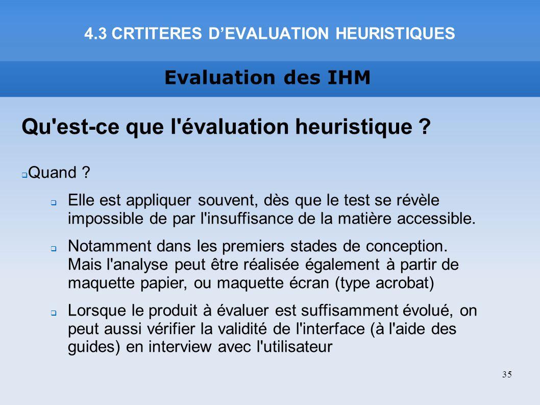 4.3 CRTITERES D'EVALUATION HEURISTIQUES