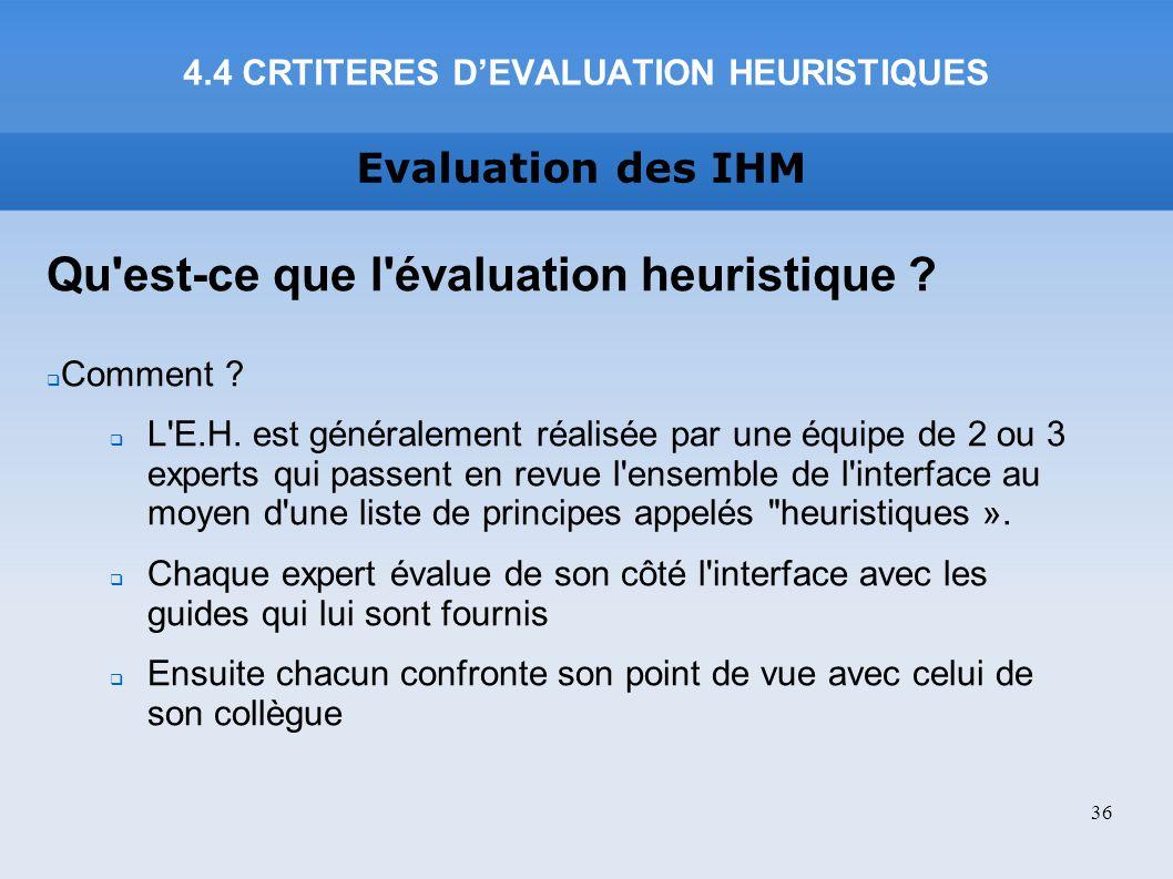 4.4 CRTITERES D'EVALUATION HEURISTIQUES