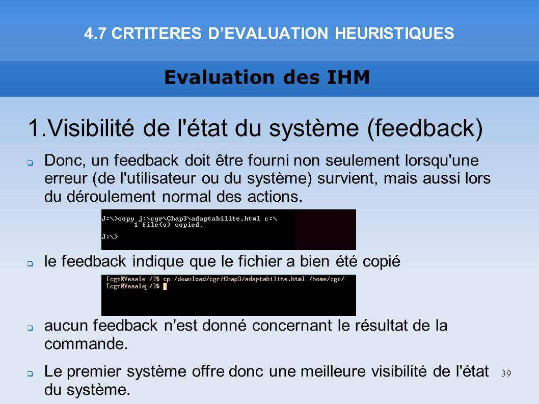 4.7 CRTITERES D'EVALUATION HEURISTIQUES