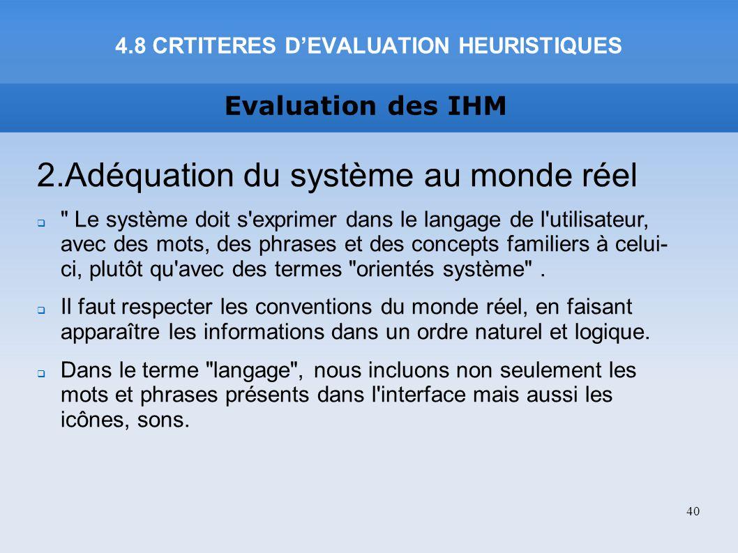 4.8 CRTITERES D'EVALUATION HEURISTIQUES