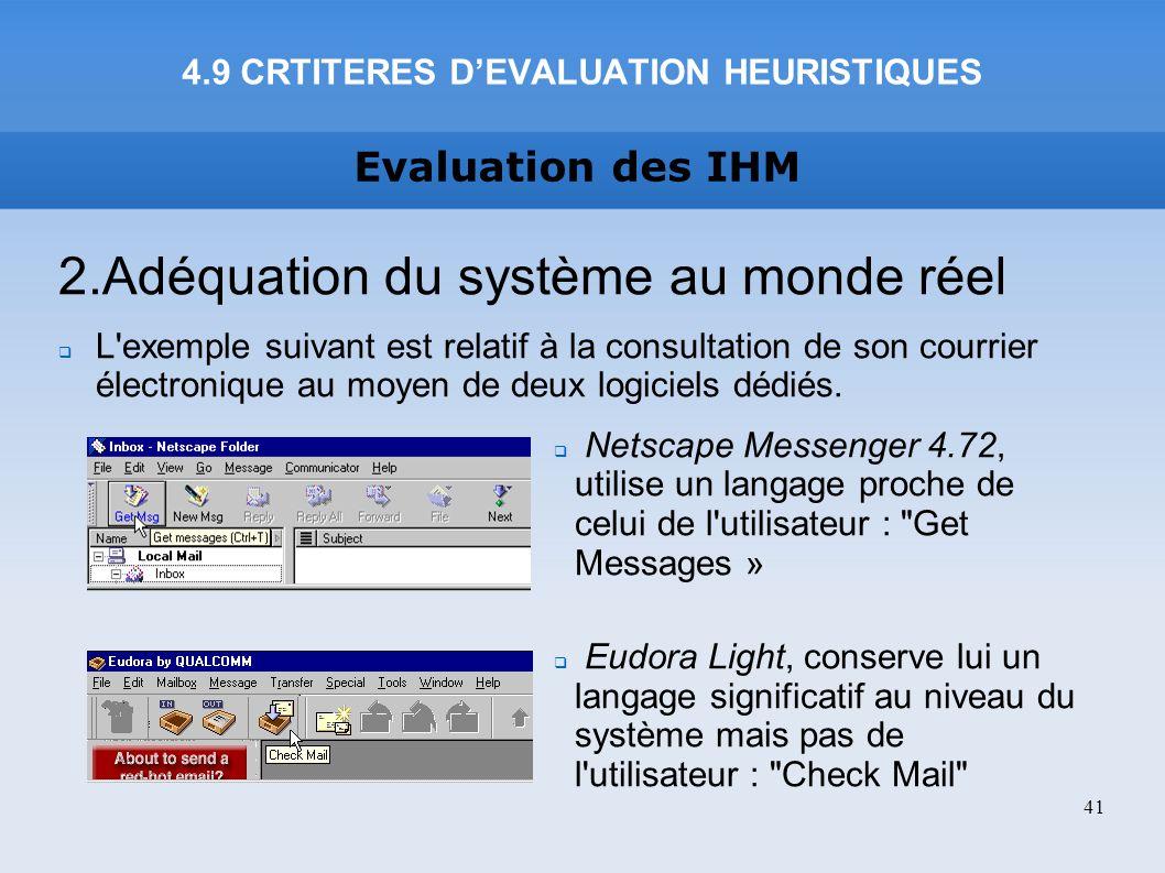 4.9 CRTITERES D'EVALUATION HEURISTIQUES