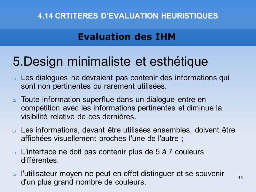 4.14 CRTITERES D'EVALUATION HEURISTIQUES