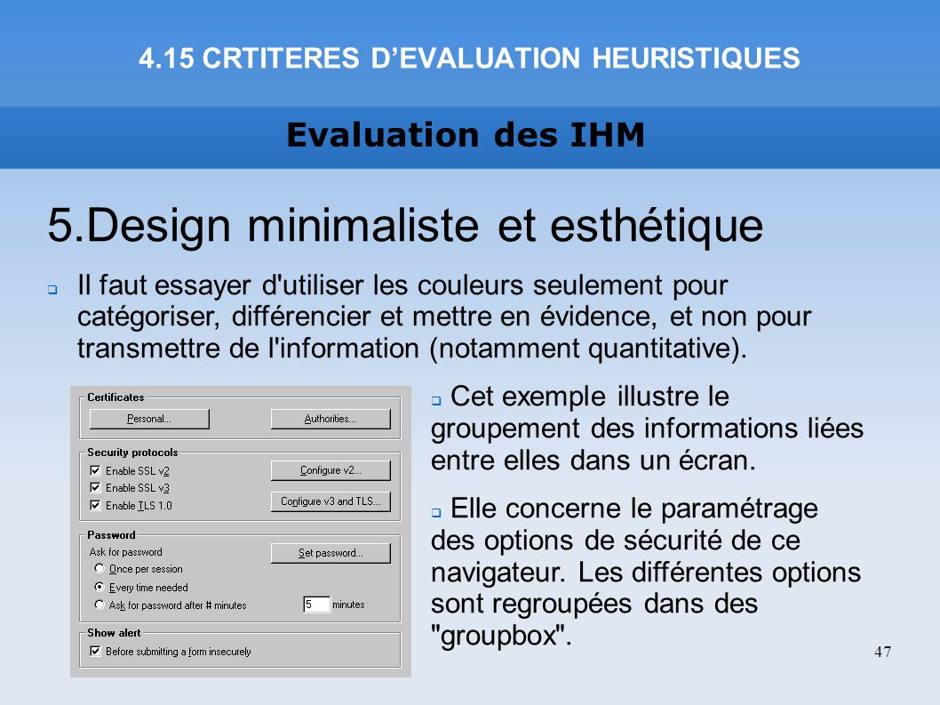 4.15 CRTITERES D'EVALUATION HEURISTIQUES