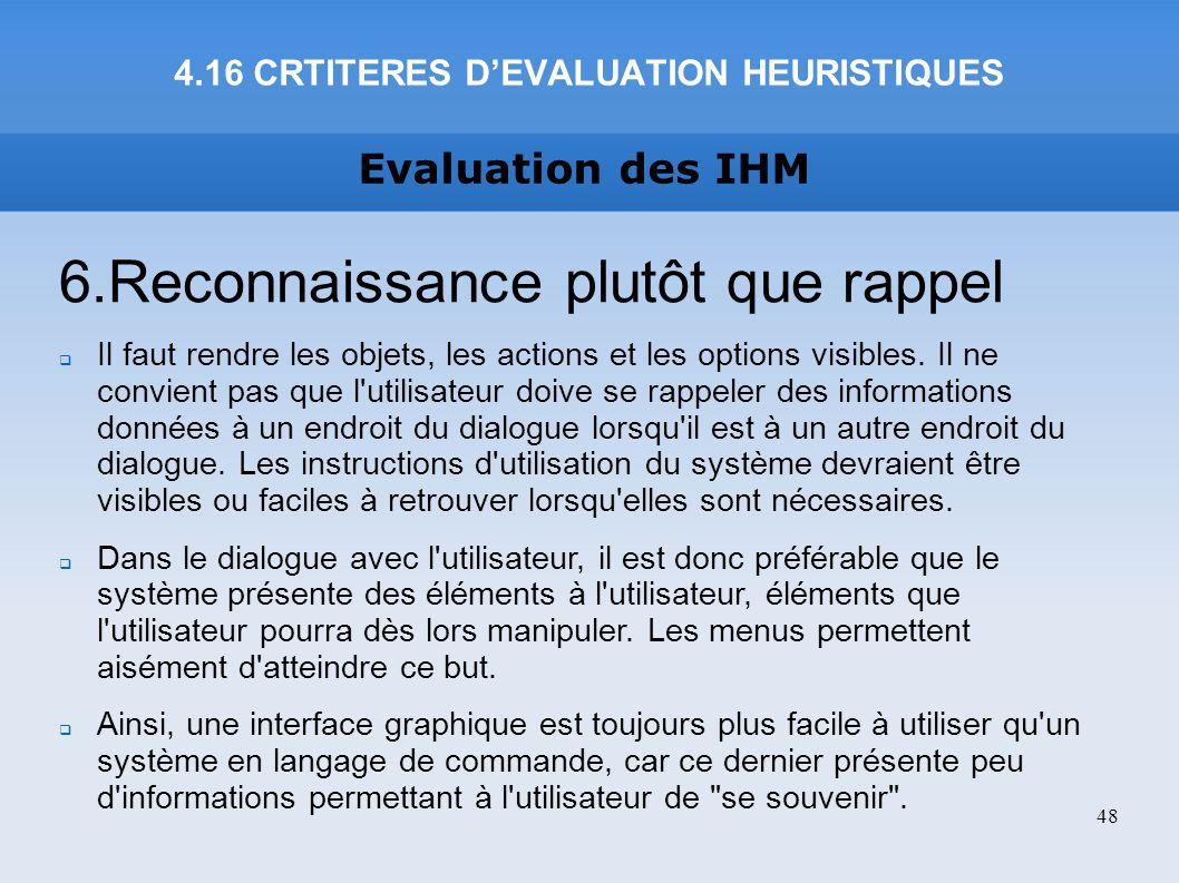 4.16 CRTITERES D'EVALUATION HEURISTIQUES
