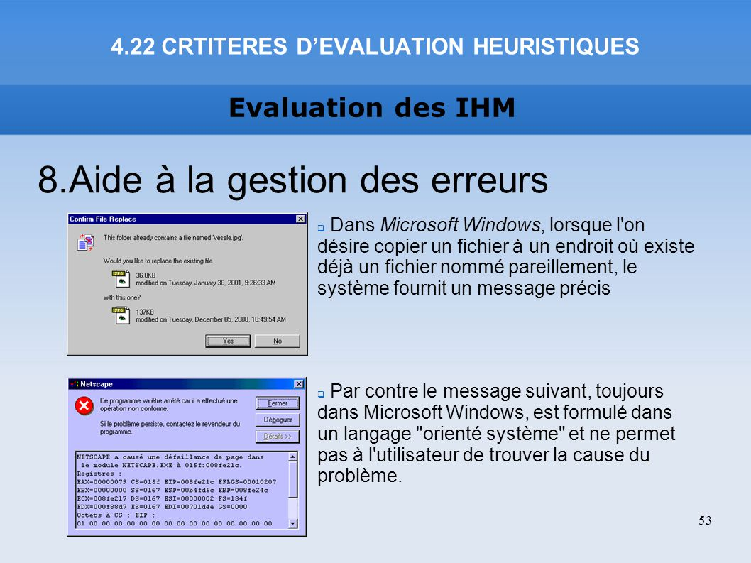 4.22 CRTITERES D'EVALUATION HEURISTIQUES