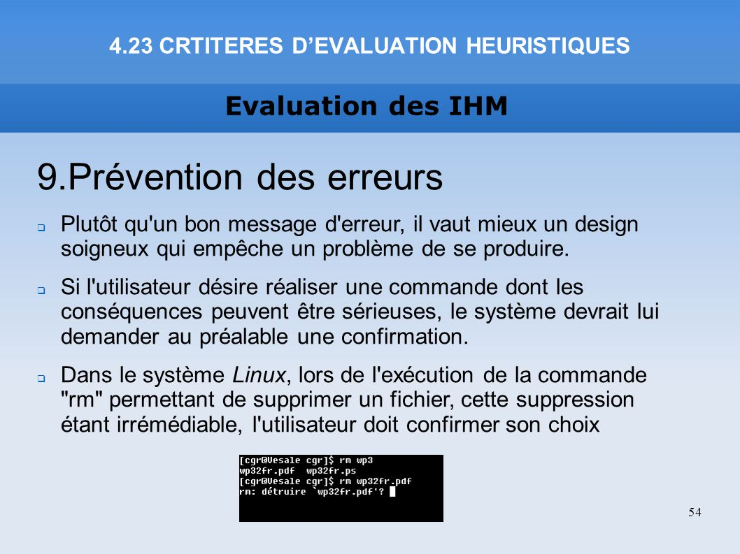 4.23 CRTITERES D'EVALUATION HEURISTIQUES