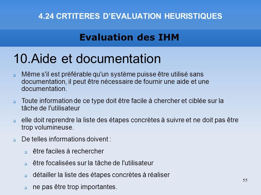 4.24 CRTITERES D'EVALUATION HEURISTIQUES