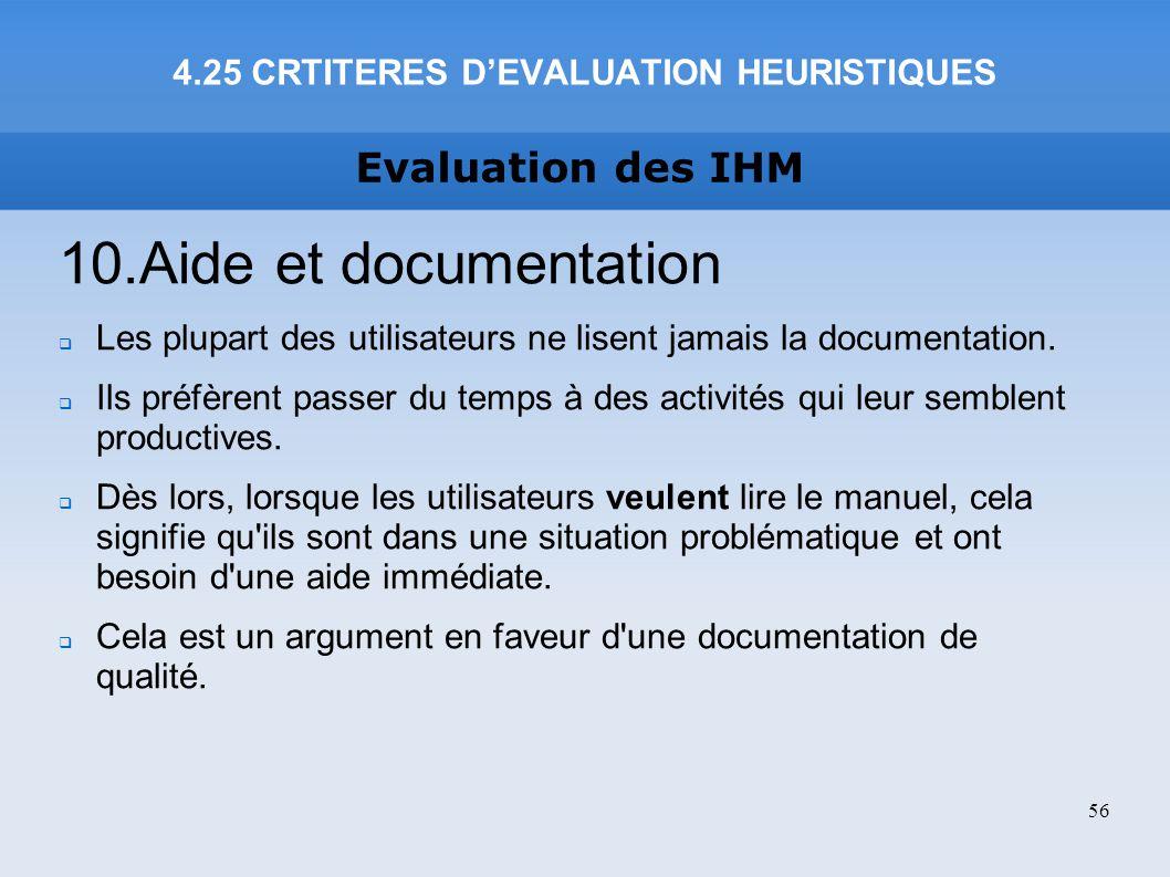 4.25 CRTITERES D'EVALUATION HEURISTIQUES