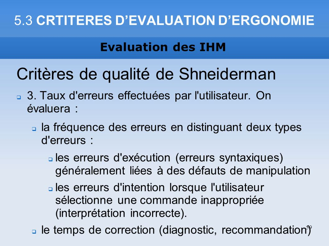 5.3 CRTITERES D'EVALUATION D'ERGONOMIE