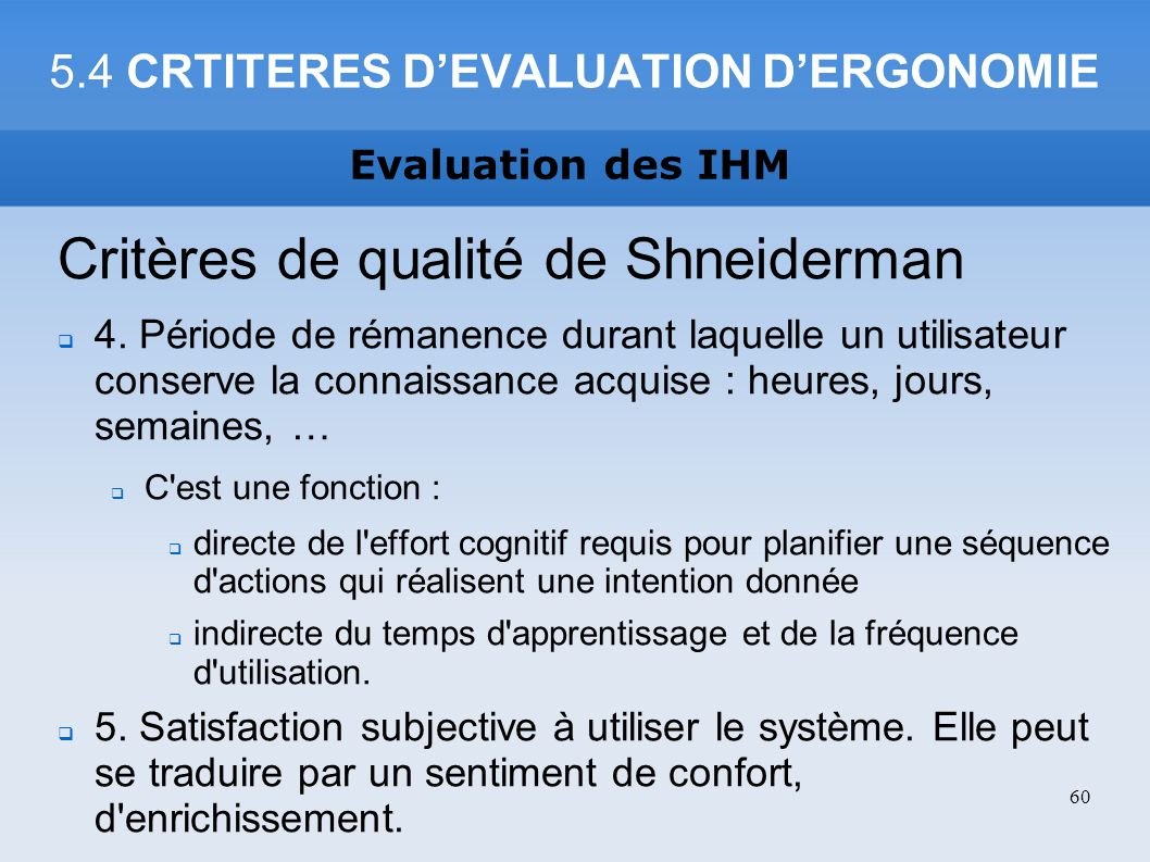 5.4 CRTITERES D'EVALUATION D'ERGONOMIE