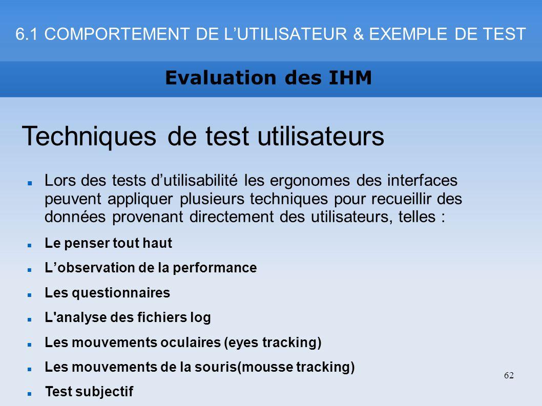 6.1 COMPORTEMENT DE L'UTILISATEUR & EXEMPLE DE TEST