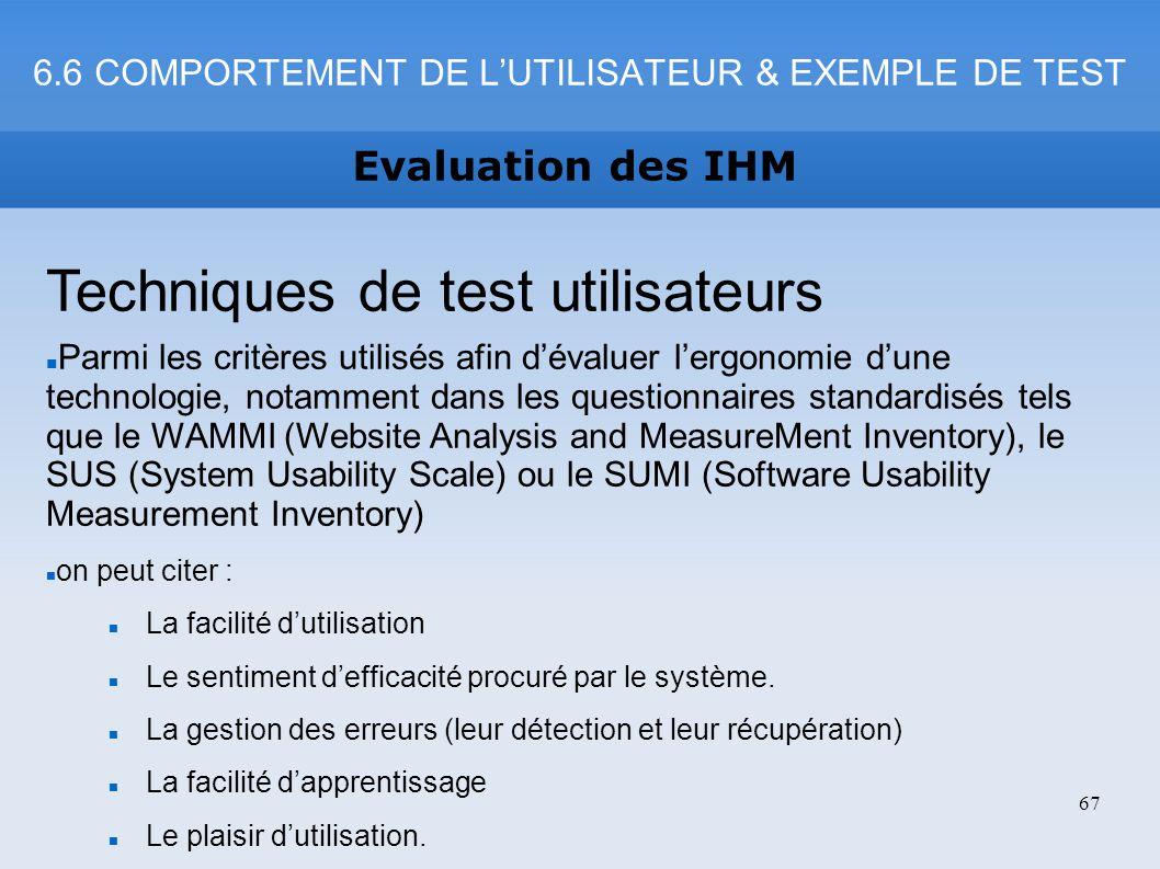 6.6 COMPORTEMENT DE L'UTILISATEUR & EXEMPLE DE TEST