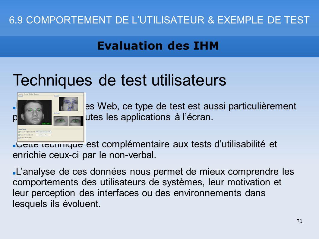 6.9 COMPORTEMENT DE L'UTILISATEUR & EXEMPLE DE TEST