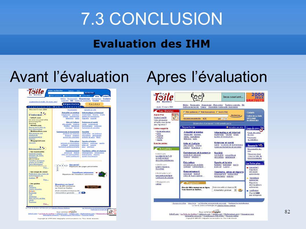 7.3 CONCLUSION Avant l'évaluation Apres l'évaluation