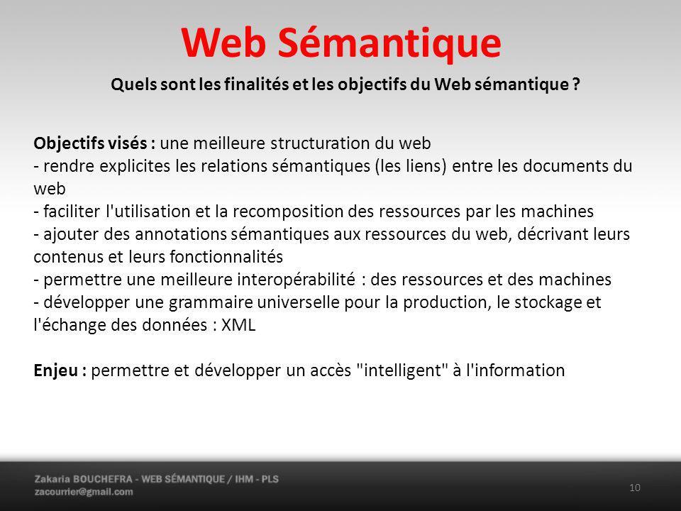 Quels sont les finalités et les objectifs du Web sémantique
