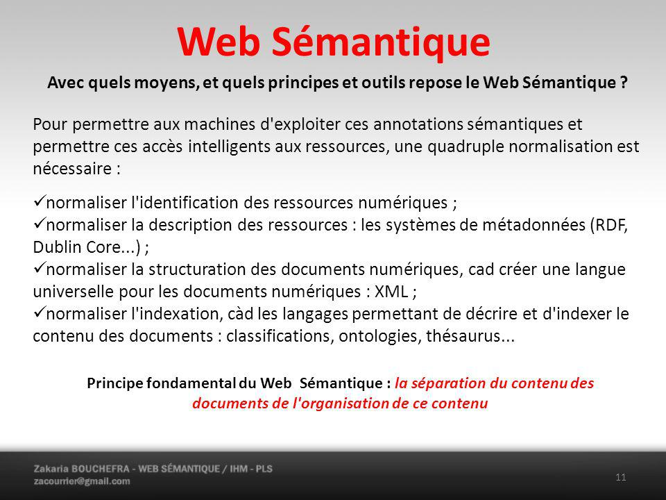 Web Sémantique Avec quels moyens, et quels principes et outils repose le Web Sémantique