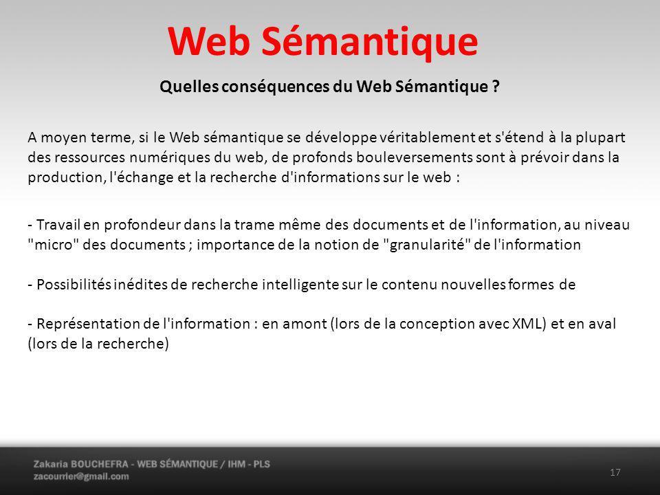 Quelles conséquences du Web Sémantique