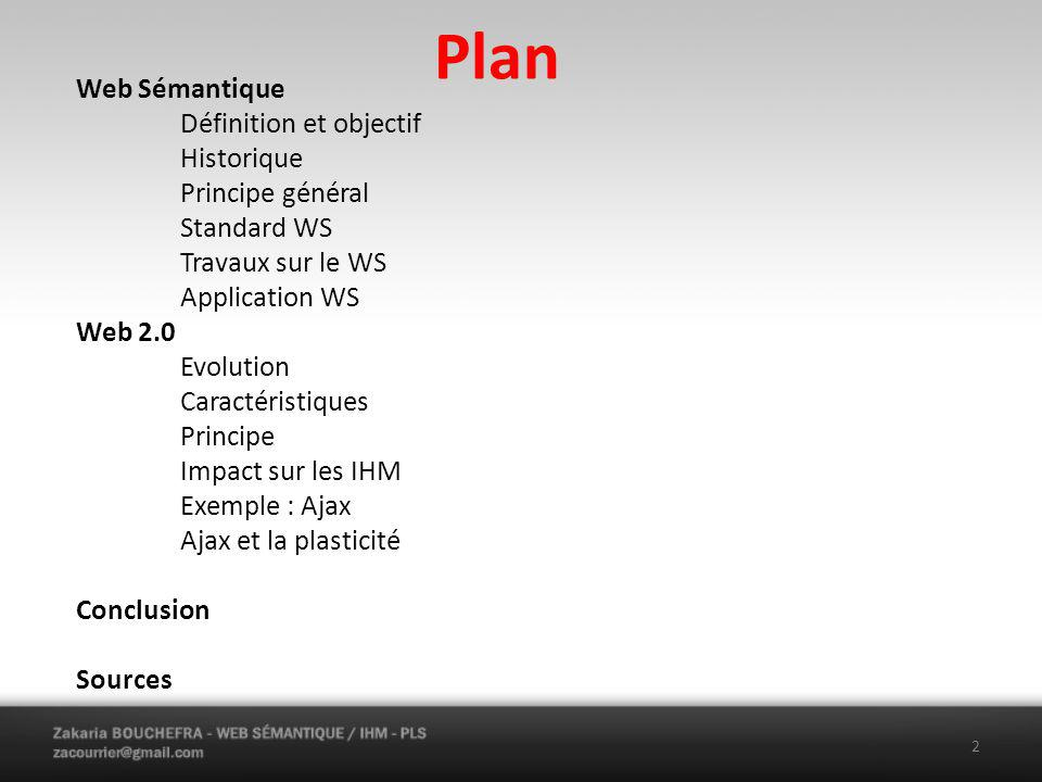Plan Web Sémantique Définition et objectif Historique Principe général