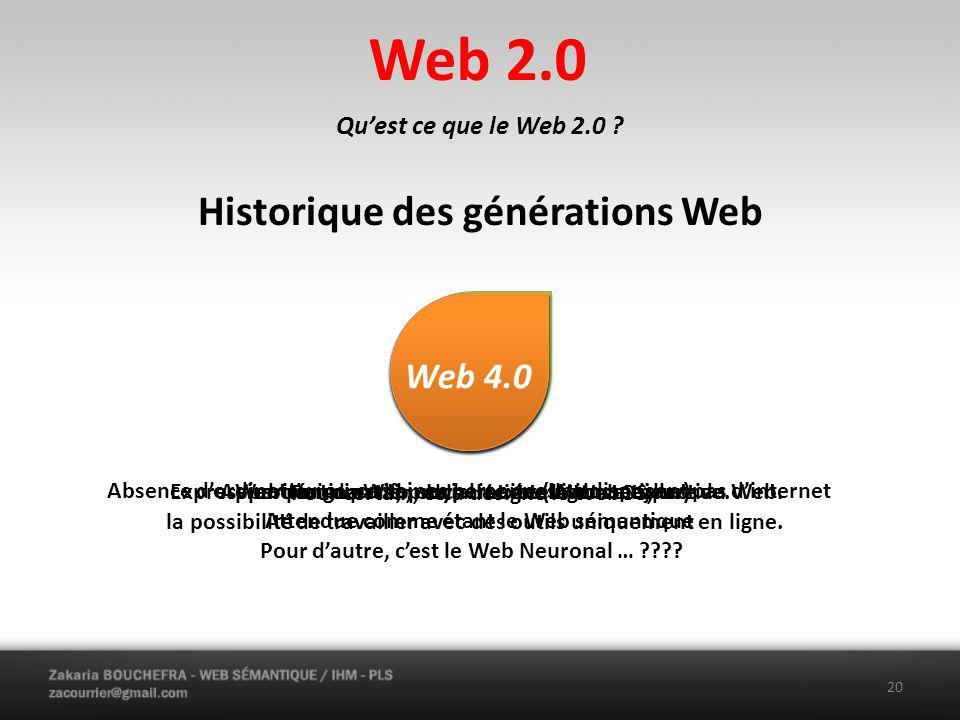 Web 2.0 Historique des générations Web Web 2.0 Web 4.0 Web 3.0 Web 1.0
