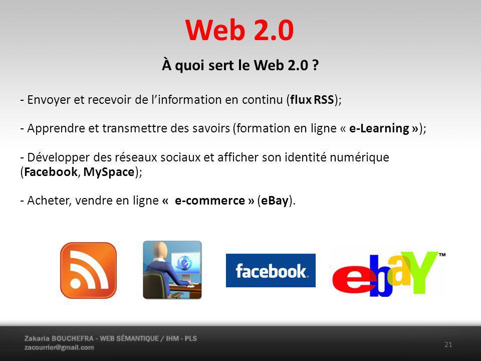 Web 2.0 À quoi sert le Web 2.0 - Envoyer et recevoir de l'information en continu (flux RSS);