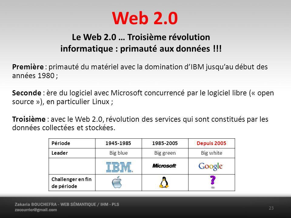 Web 2.0 Le Web 2.0 … Troisième révolution informatique : primauté aux données !!!