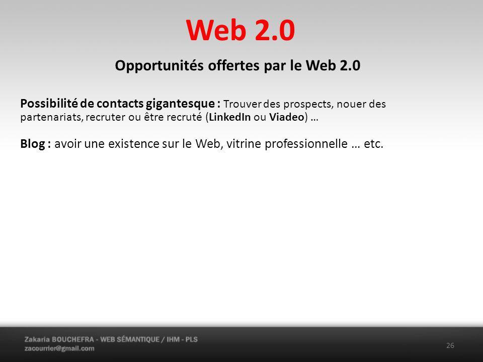 Opportunités offertes par le Web 2.0