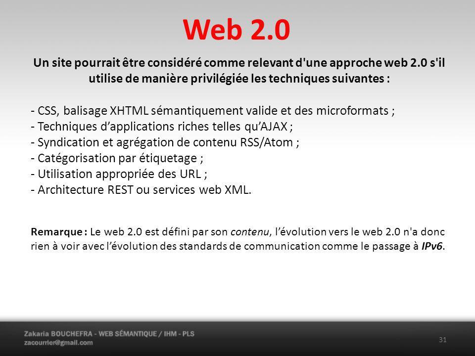 Web 2.0 Un site pourrait être considéré comme relevant d une approche web 2.0 s il utilise de manière privilégiée les techniques suivantes :
