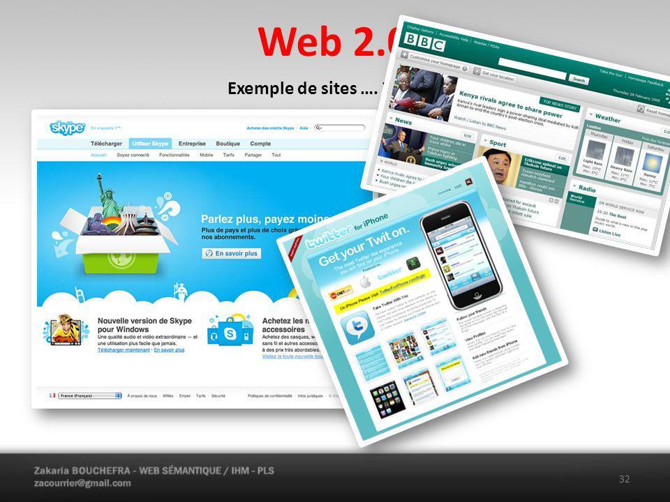 Web 2.0 Exemple de sites …. Web 2.0