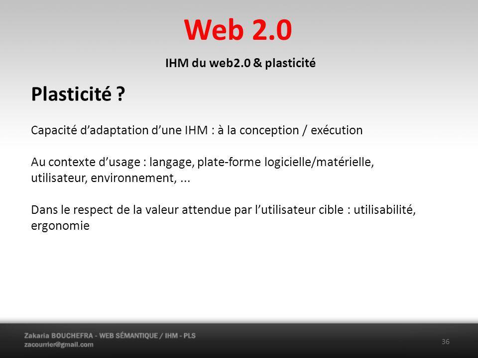 Web 2.0 Plasticité IHM du web2.0 & plasticité
