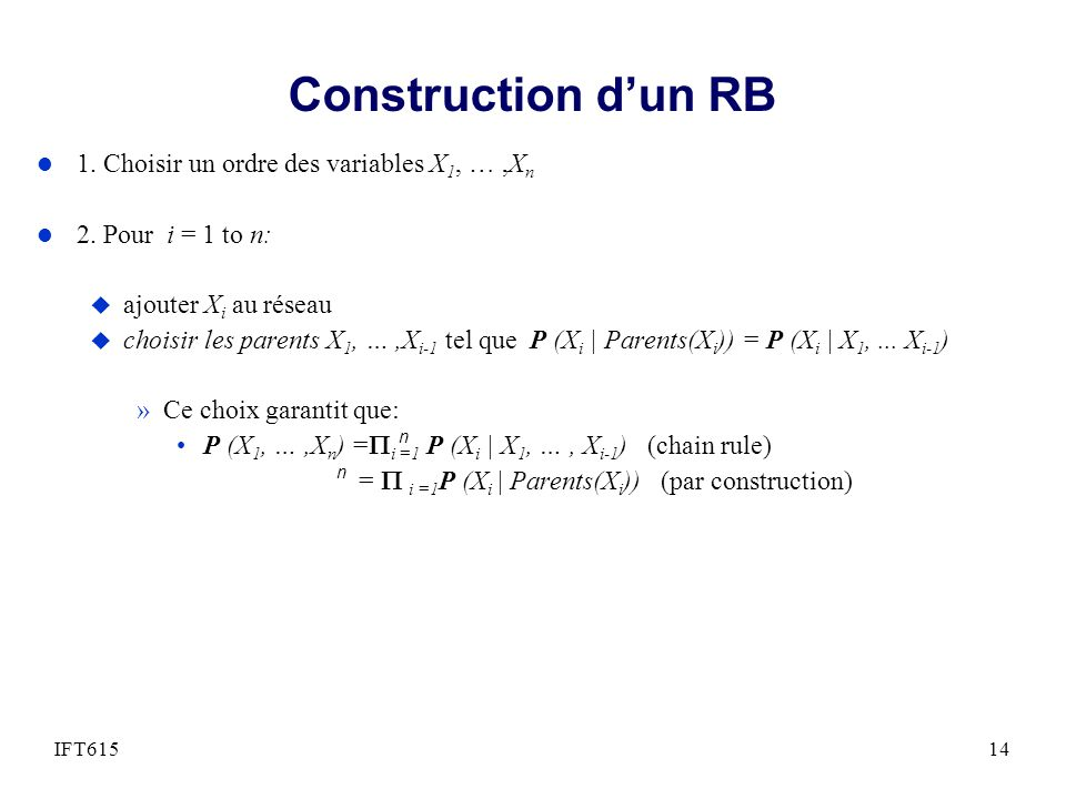 Construction d'un RB 1. Choisir un ordre des variables X1, … ,Xn
