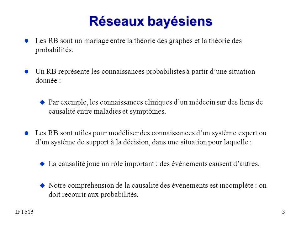 Réseaux bayésiens Les RB sont un mariage entre la théorie des graphes et la théorie des probabilités.
