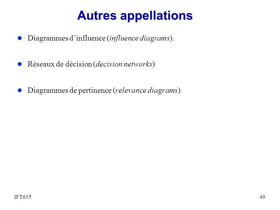 Autres appellations Diagrammes d'influence (influence diagrams).
