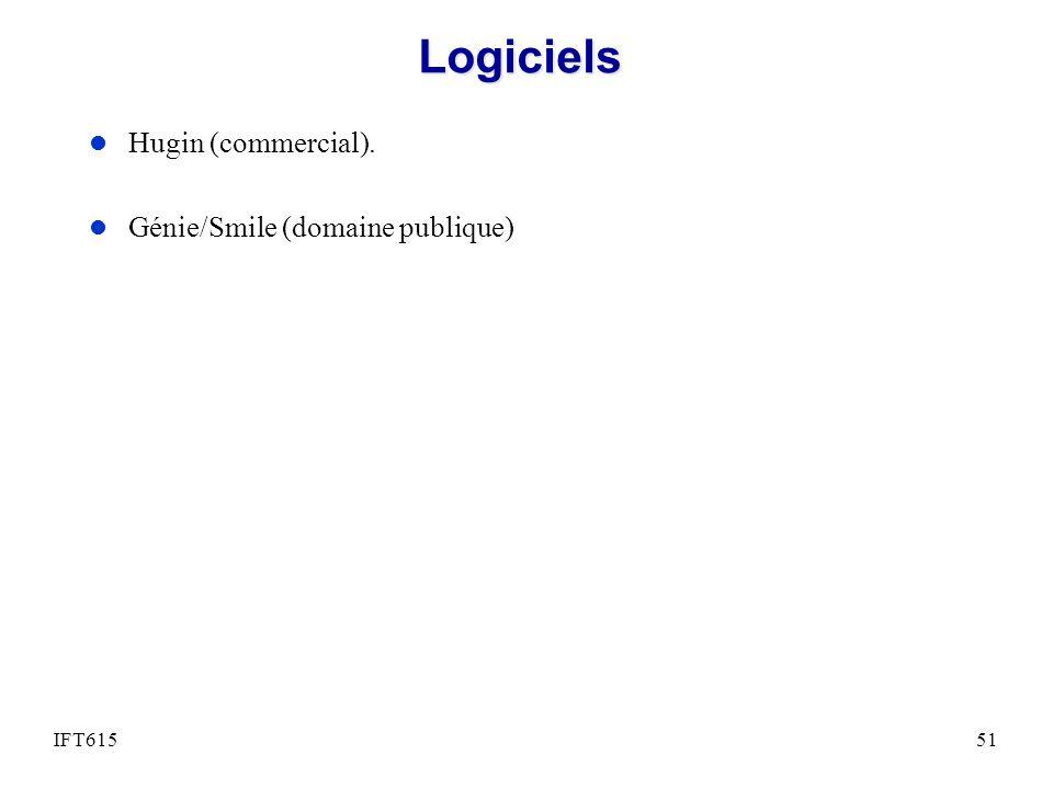 Logiciels Hugin (commercial). Génie/Smile (domaine publique) IFT615