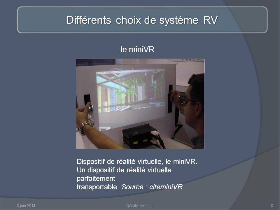 Différents choix de système RV