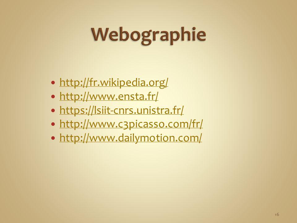 Webographie http://fr.wikipedia.org/ http://www.ensta.fr/
