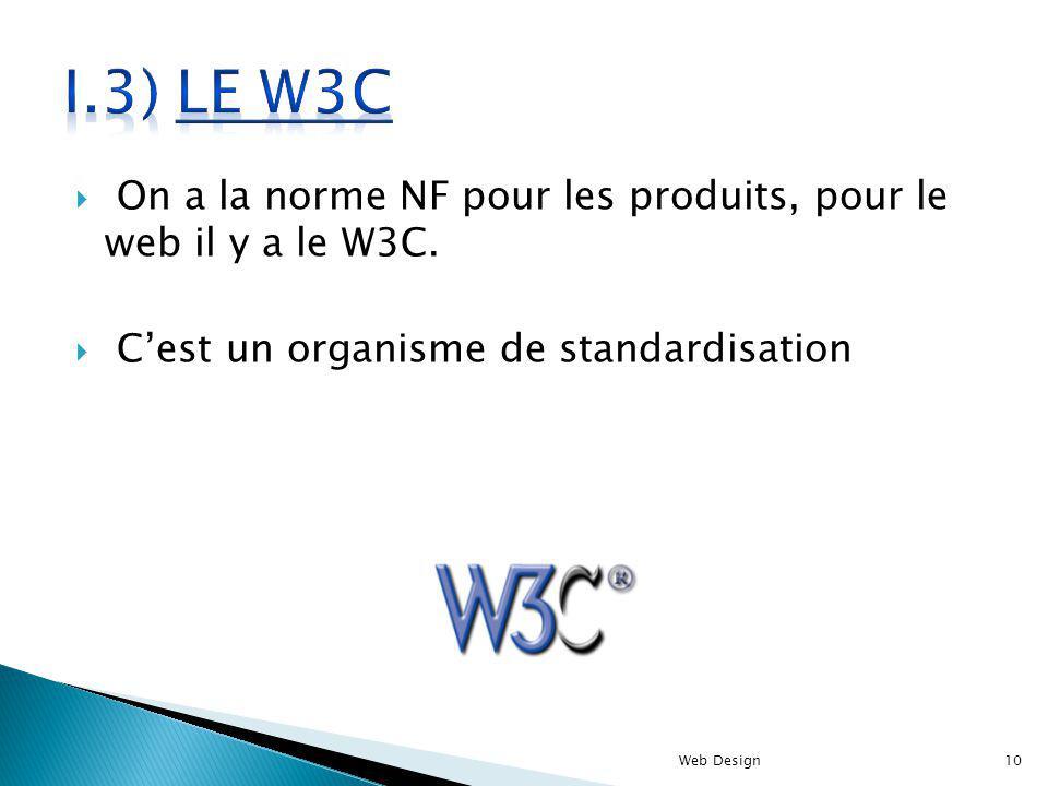 I.3) le W3C On a la norme NF pour les produits, pour le web il y a le W3C. C'est un organisme de standardisation.