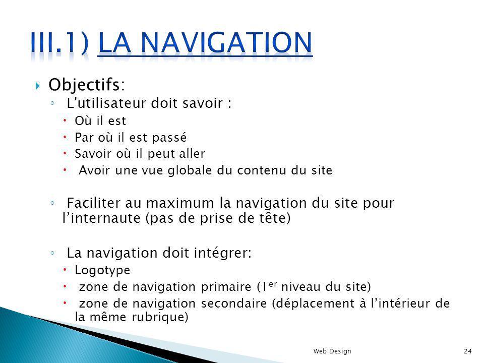 III.1) La navigation Objectifs: L utilisateur doit savoir :