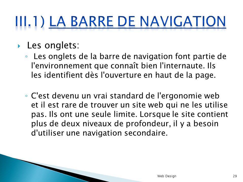 III.1) La barre de navigation