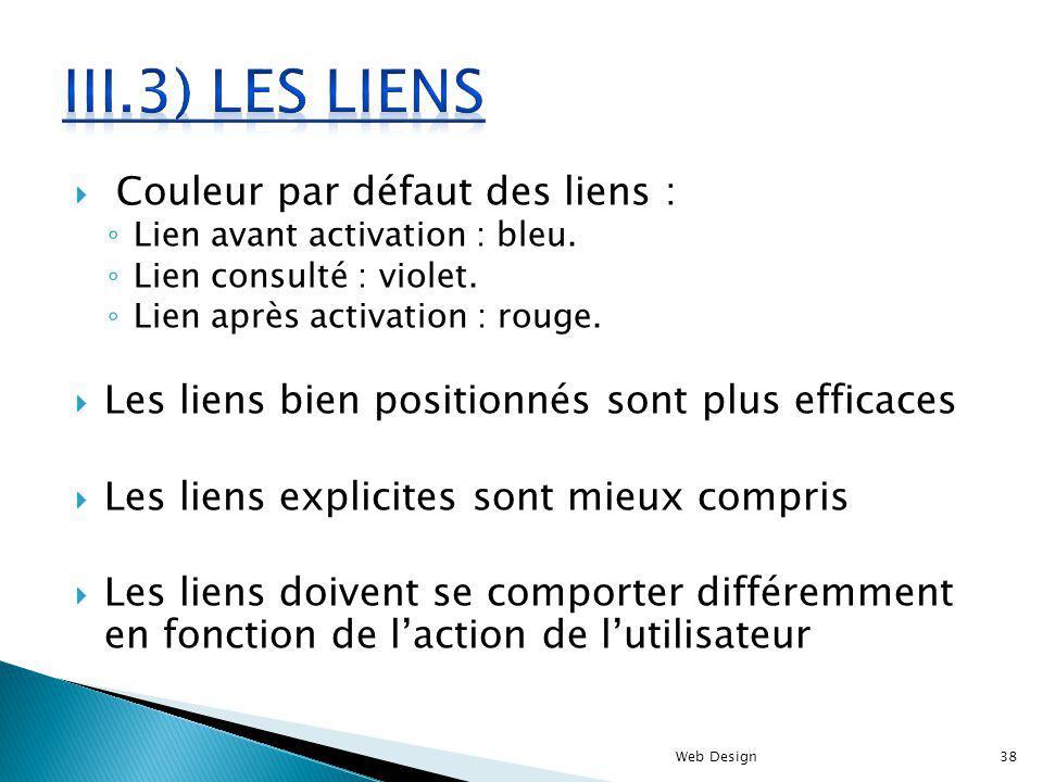 III.3) Les liens Couleur par défaut des liens :