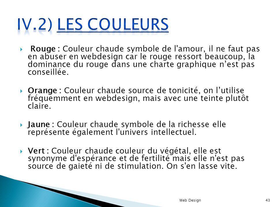 IV.2) Les couleurs
