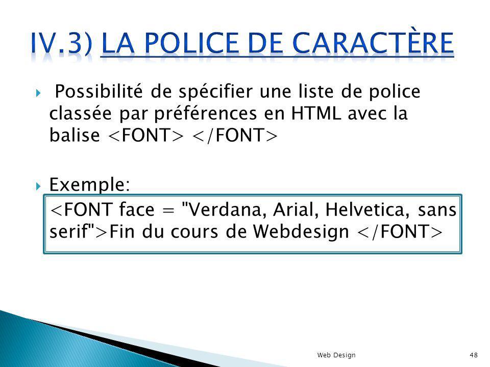 IV.3) La police de caractère