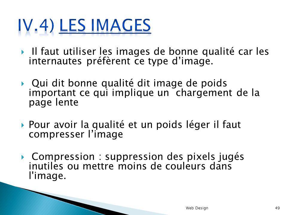 IV.4) Les images Il faut utiliser les images de bonne qualité car les internautes préfèrent ce type d'image.