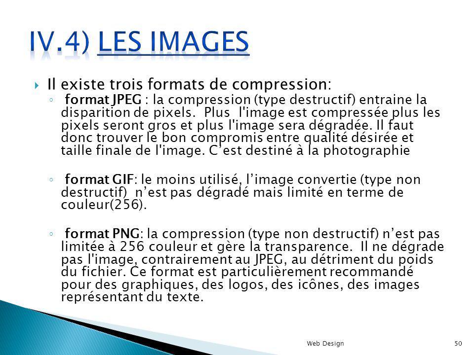 IV.4) Les images Il existe trois formats de compression: