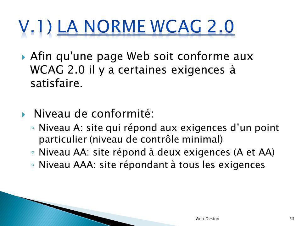 V.1) La norme WCAG 2.0 Afin qu une page Web soit conforme aux WCAG 2.0 il y a certaines exigences à satisfaire.