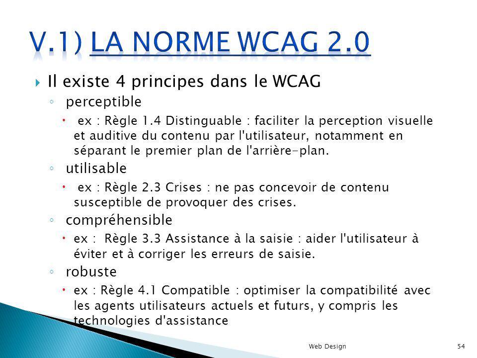 V.1) La norme WCAG 2.0 Il existe 4 principes dans le WCAG perceptible