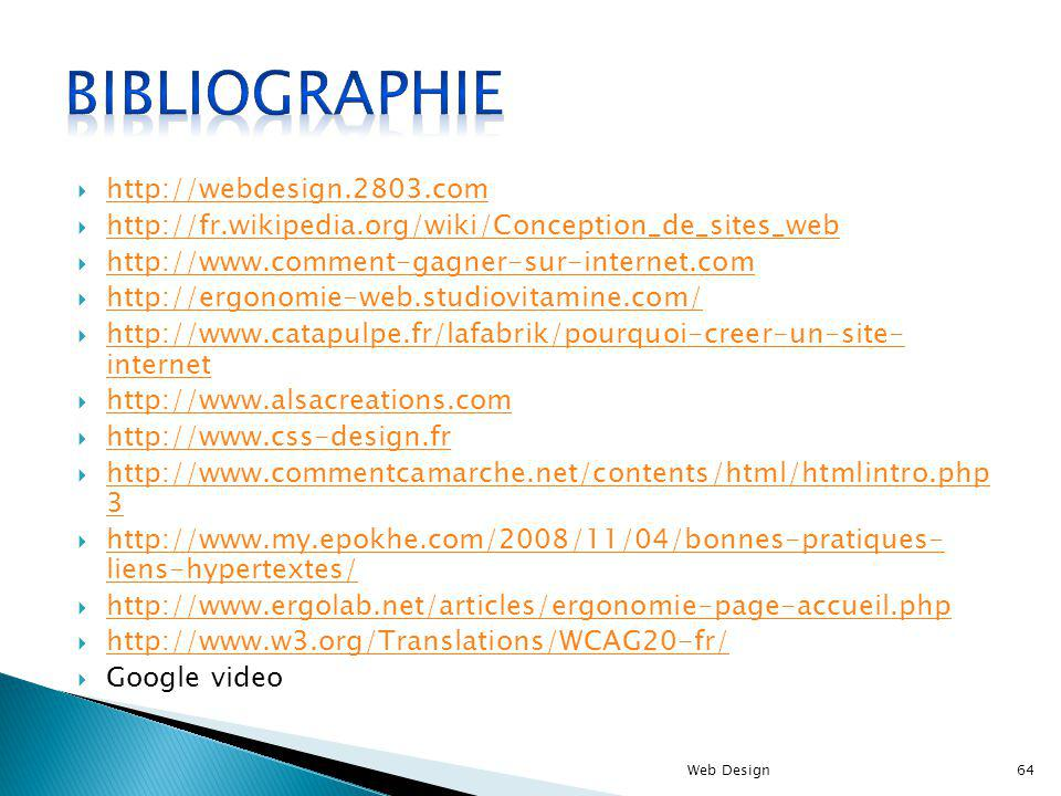 Bibliographie http://webdesign.2803.com